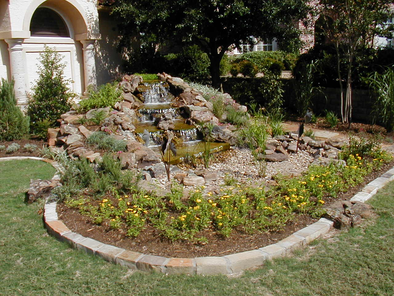 DESIGN OF WATER GARDENS WITH WATERFALLS, POND, WATER BASIN, Rockery Plantation